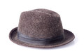 Brown male felt hat isolated on white Royalty Free Stock Photo