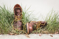 Brown man s shoes in grass still ife Royalty Free Stock Images