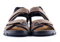 Brown man's Shoes Sandals with Velcro fastener Royalty Free Stock Image