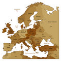 Brown map of Europe Stock Image