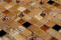 Brown marble and glass mosaic a often used to create accents in bathrooms kitchens Stock Photos