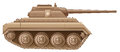 A brown military tank illustration of on white background Royalty Free Stock Photography