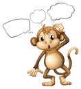 A brown monkey with empty callouts illustration of on white background Stock Photos