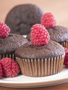 Brown muffins with raspberry Royalty Free Stock Image