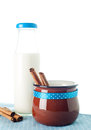 Brown mug milk cinnamon bottle on blue napkin Stock Photography