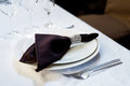 Brown napkin, table settings. Wedding, banquet. Indoor Royalty Free Stock Photo