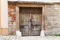 Brown old rustic withered wooden doors in bratislava slovakia Stock Images