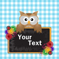Brown Owl With Blackboard Stock Photo
