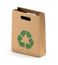 Brown paper bag with recycling symbol kraft shop isolated on white background Royalty Free Stock Images