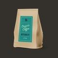 Brown Paper Food Bag Package Of Coffee. Vector mockup Template. Vector packaging design.