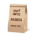 Brown paper food bag package of craft coffee. Realistic vector mockup template. Vector packaging design.