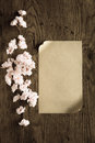 Brown paper and pink flowers on wooden background,filter effect Royalty Free Stock Photo