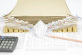 Brown pencil point to house between step of gold coins Royalty Free Stock Photo