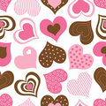 Brown and Pink Hearts Pattern Royalty Free Stock Photo