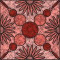 Brown and pink shades marble tile with flower and circle pattern Royalty Free Stock Photo