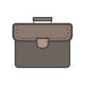 Brown portfolio with handle. Flat icon. Royalty Free Stock Photo