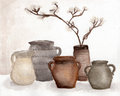 Brown Pottery vase and dried flower decorate in vase , Clay pots, old ceramic vases ,flower pots - watercolor painting in vintage