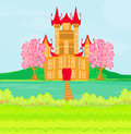 Brown princess castle on the river illustration Royalty Free Stock Photos