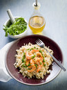 Brown rice with shrimp and arugula Royalty Free Stock Photography