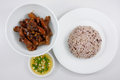 Brown rice and stir fried pork with soy sauce (1) Royalty Free Stock Photo