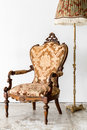 brown Royal Chair with lamp Royalty Free Stock Photo