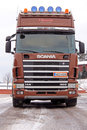 Brown scania truck tractor front view salo finland january in arctic conditions is again ranked among the worlds most sustainable Royalty Free Stock Photography