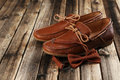 Brown shoes with bow tie Royalty Free Stock Photo