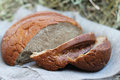 Brown sliced bread on hay Royalty Free Stock Images