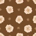 Brown snowflakes snowfall seamless texture with negligent on the Stock Images