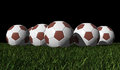 Brown soccer balls on a green grass Stock Photo