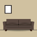 Brown sofa in interior with a picture on the wall vector illustration Royalty Free Stock Photo