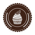 brown stamp with cupcake with lemon slice in round frame Royalty Free Stock Photo