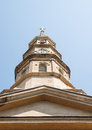 Brown Stone Steeple from Below Royalty Free Stock Photo