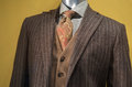 Brown striped suit close up of a mannequin in jacket tan vest checkered shirt and orange tie Royalty Free Stock Photos