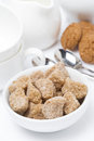 Brown sugar closeup cookies and crockery for teatime vertical Royalty Free Stock Images