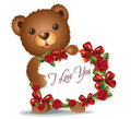 Brown Teddy bear with greeting card Stock Images