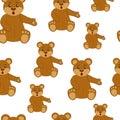 Brown teddy bear. Seamless pattern