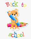 Brown teddy with crayons ant text back to school illustration Royalty Free Stock Image