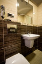 Brown theme bathroom elegant modern interior Royalty Free Stock Images