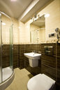 Brown theme bathroom elegant modern interior Royalty Free Stock Photography