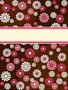 Brown vertical retro banner with pink flowers Royalty Free Stock Photography