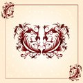 Brown vintage ornament pattern with border Royalty Free Stock Photo