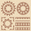 Brown vintage ornaments and frames - vector