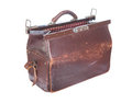 Brown vintage valise isolated on a white background Royalty Free Stock Photo