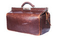 Brown vintage valise isolated on a white background Royalty Free Stock Photos