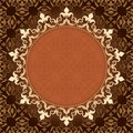 Brown vintage vector background with gold frame