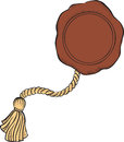 Brown wax seal on rope. Royalty Free Stock Photo