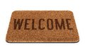 Brown welcome doormat coir with text isolated on white background Royalty Free Stock Image