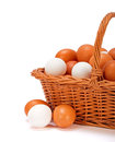 Brown and white eggs in basket chicken wicker copy space on left Royalty Free Stock Photos