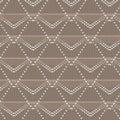 Brown and white polygon and diamond shape dot line knitting patt